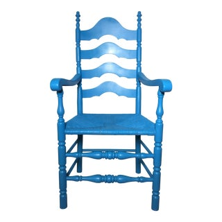 Vintage French Country Tall Back Cane and Rattan Chair in Ocean Blue For Sale
