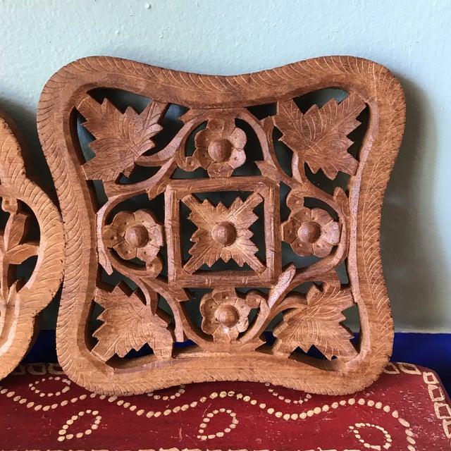 Hand-Carved Trivets - Set of 3 For Sale - Image 4 of 10