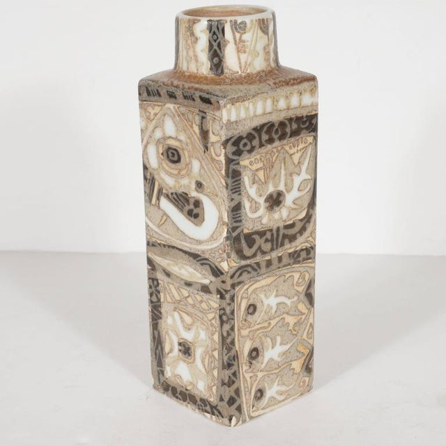 Danish Modern Mid-Century Modernist Ceramic Danish Vase with Geometric Designs, Nils Thorsson For Sale - Image 3 of 9