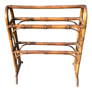 1940s Rattan Blanket Stand For Sale