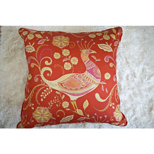 Red Chinoiserie Peacock Pillow For Sale - Image 4 of 5