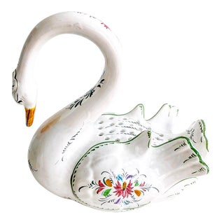 Vintage Hand Painted Portugal Swan Flower Frog
