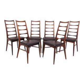 Set of 6 Koefoeds Hornslet Danish Rosewood Ladderback Dining Chairs, Circa 1960s For Sale