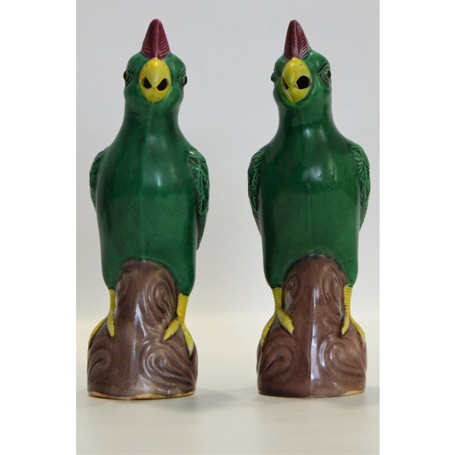 Abstract Vintage Small Chinese Porcelain Parrot Bird Figurines -A Pair-Oriental Asian Mid Century Modern Boho Palm Beach Chic Sculpture Ceramic Pottery Phoenix For Sale - Image 3 of 13