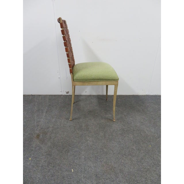 Danish Modern Modern Harden Iron & Leather Side Chair For Sale - Image 3 of 6