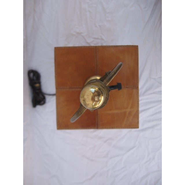 Jean Royere Attributed Leather Patch Lamp - Image 7 of 8