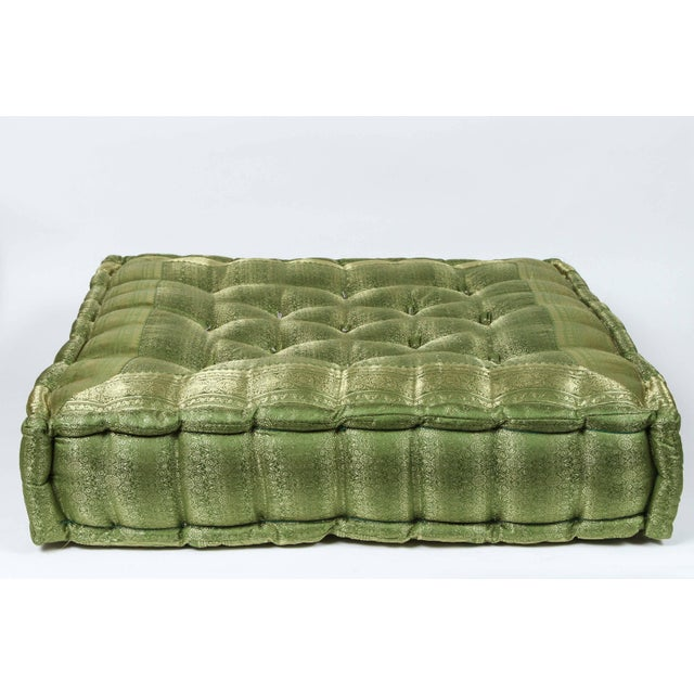 Late 20th Century Vintage Oversized Silk Square Green Tufted Moroccan Floor Cushion For Sale In Los Angeles - Image 6 of 6
