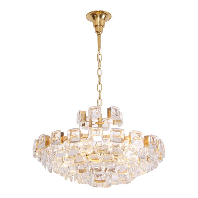 Glamorous Palwa Gilded Brass and Glass Jewel Chandelier For Sale