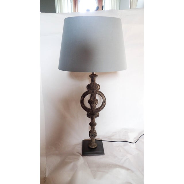 """Antique French Architectural Iron Element Repurposed into Stunning Lamp 32""""H Gray Shade; Architectural Iron 20""""H, Base 6 x 6."""