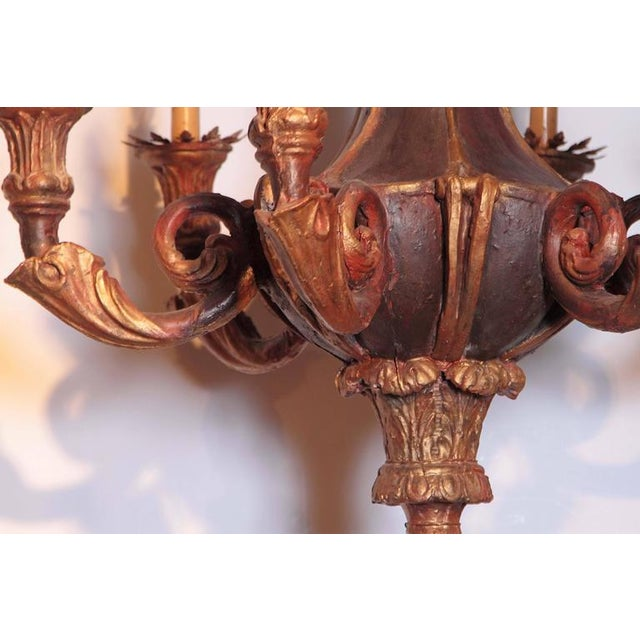 Decorative 20th Century Italian Painted Six-Light Chandelier For Sale - Image 9 of 10
