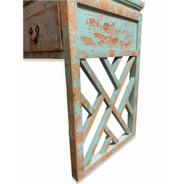 Asian Style Asian Distressed Panel Legs Desk For Sale - Image 4 of 6