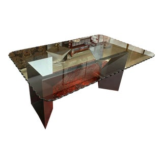 Italian Scallop Glass Dining Table For Sale