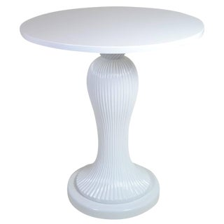 1980s Lacquered Wood Fluted Pedestal Table