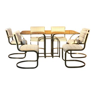 Vintage Milo Baughman Dining Table with Cantilever Chairs For Sale