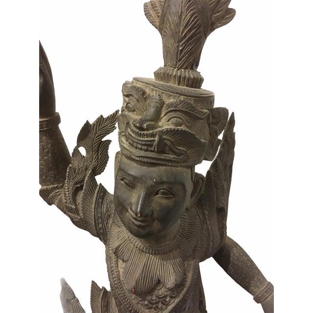Ebony Antique 1920s Carved Khamphi Rosewood Burmese Temple Guardian Statue For Sale - Image 8 of 10