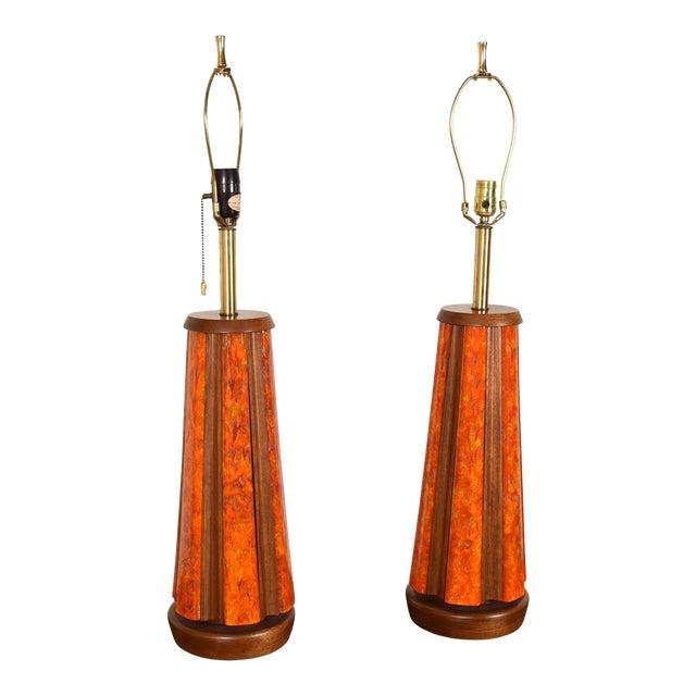 Mid-Century Walnut & Orange Enamel Lamp's, Pair For Sale