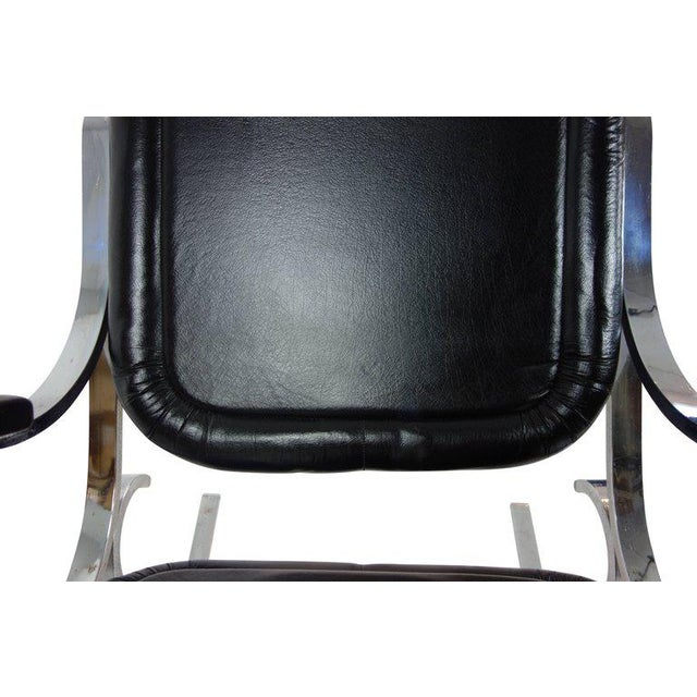 Black Maison Jansen Black Leather Rocking Chair For Sale - Image 8 of 10
