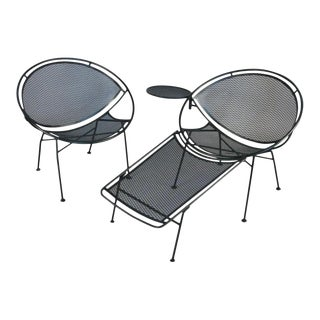 Vintage Salterini 'Radar' Lounge Chairs With Ottoman - A Pair For Sale