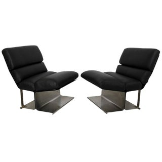 Mid-Century Modern Pair of Steel Leather Lounge Chairs Paul Geoffroy Uginox French 1970 For Sale