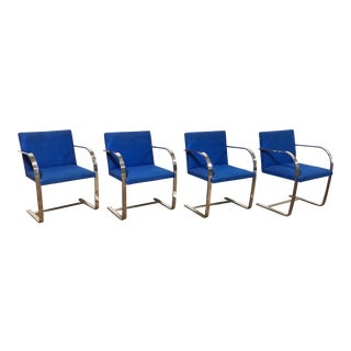 1970s Original Mies Van Der Rohe for Knoll Solid Steel Flat Bar Brno Dining Chairs - Set of 4 For Sale
