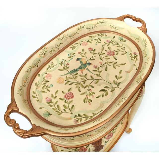 Paint Vintage Wood Hand Painted Serving / Side Tray Table For Sale - Image 7 of 13