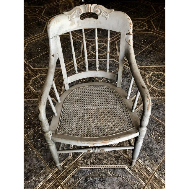 1940s 1940s Vintage Shabby Chic Lilac Wood and Cane Accent Chair For Sale - Image 5 of 13