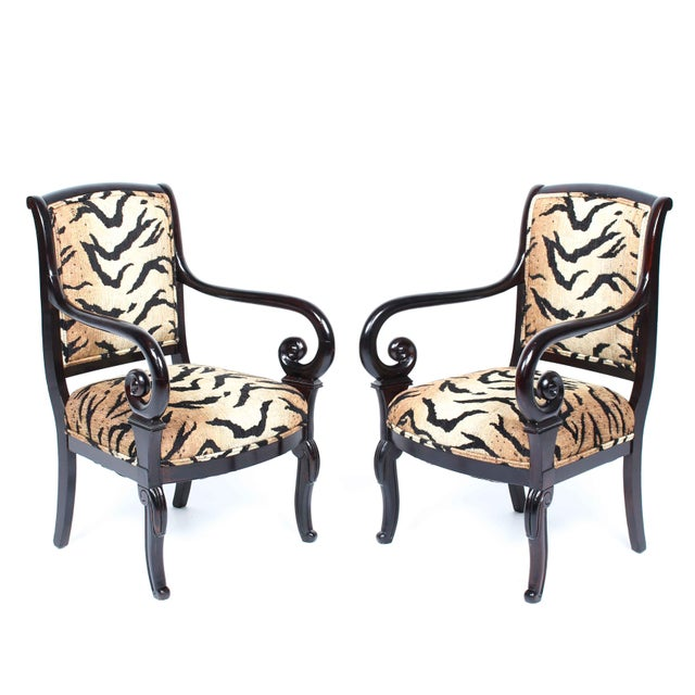 Antique Italian Armchairs With Animal Print - Pair - Image 5 of 5