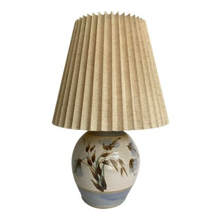 1960s Vintage Pottery Japanese Hand-Painted Lamp With Shade For Sale