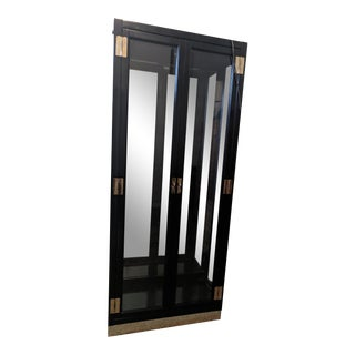 1980s Modern Black Curio Cabinet For Sale