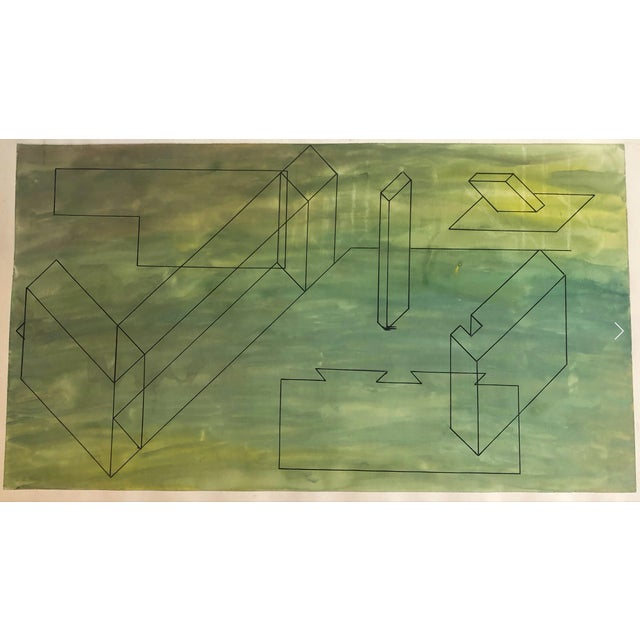 1950s 1950s Mid-Century Modern Geometric Painting For Sale - Image 5 of 7