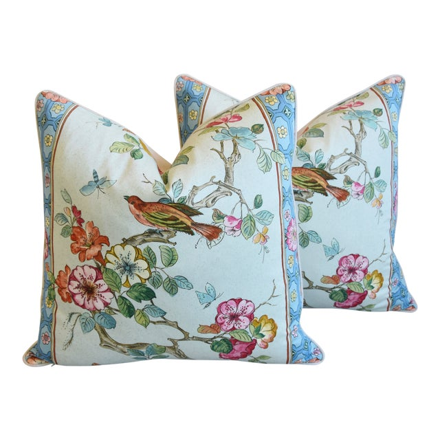 "English Chinoiserie Floral & Birds Feather/Down Pillows 24"" Square - Pair For Sale"