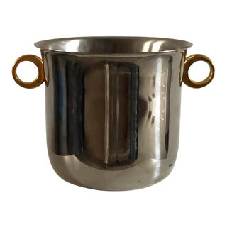 Late 20th Century Modern Stainless Steel and Brass Champagne Bucket For Sale