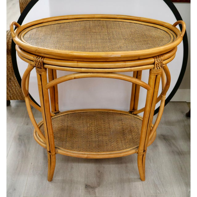 Vintage Bamboo Bar-Cart With Tray For Sale In New York - Image 6 of 6