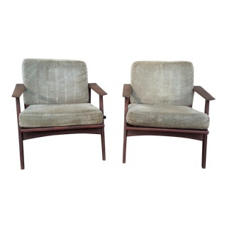 Mid-Century German Teak Lounge Armchairs - a Pair For Sale