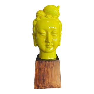 1950s Chinese Ceramic Buddha Head Mid-Century on Wood Stand For Sale