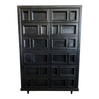 Mid-Century Modern High Boy Lacquered Cabinet For Sale