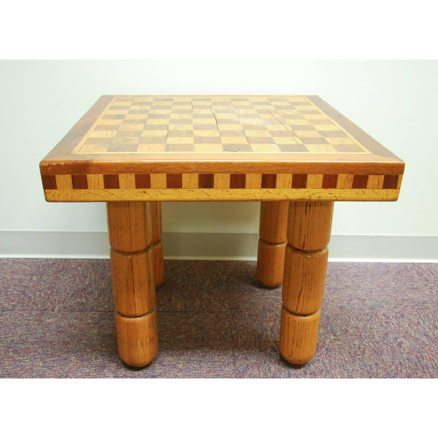 Modern Postmodern Oak and Walnut Inlay End Table, Circa 1980 For Sale - Image 3 of 11
