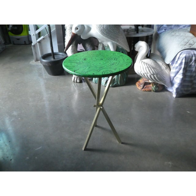Green 1960s Mid Century Faux Malachite Fornasetti Side Table For Sale - Image 8 of 10