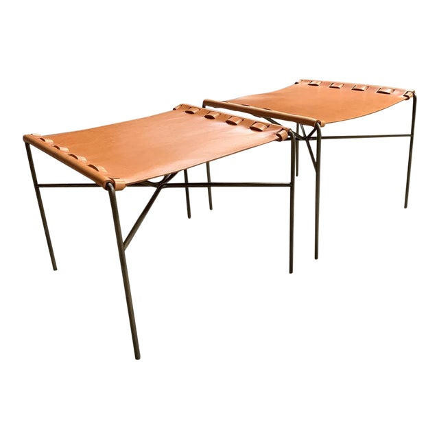 Gratz Archive Tg-19 Saddle Leather Sling Stools - a Pair For Sale