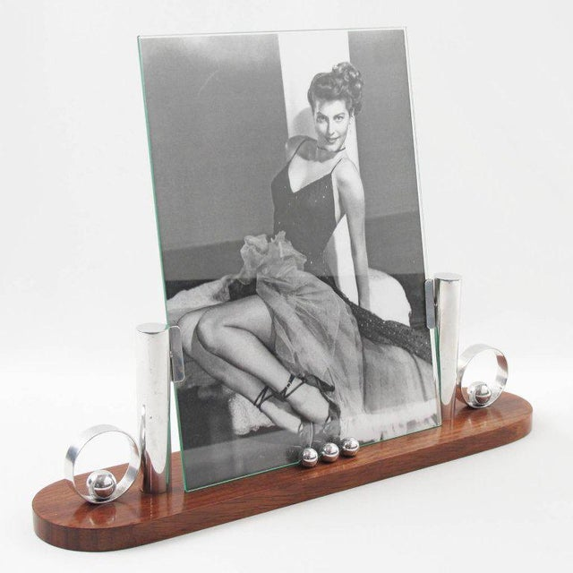 French Art Deco Rosewood and Chrome Picture Frame - Image 2 of 6