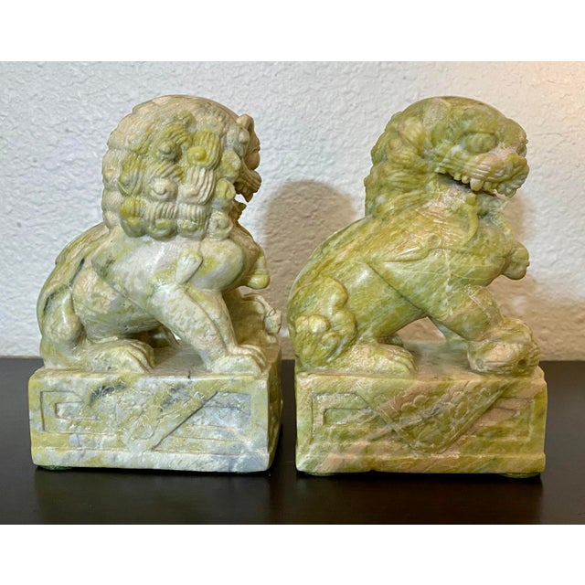 Vintage Hand Carved Stone Foo Dogs - a Pair For Sale - Image 4 of 7