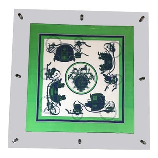 Horse and Carriage Hermès Scarf Framed in Green Lucite For Sale