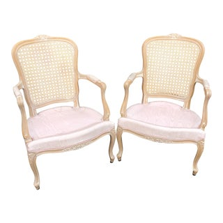 Pair of Vintage Chateau d'Ax Louis XV Bergere French Country Provincial Chairs For Sale