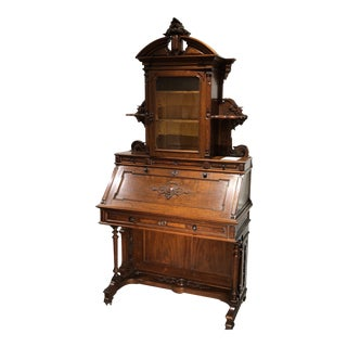 Late 18th Century Walnut Drop Front Secretary Desk For Sale
