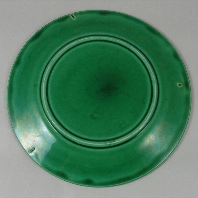 Art Nouveau 19th-C. Green Majolica Orchid Plate For Sale - Image 3 of 3