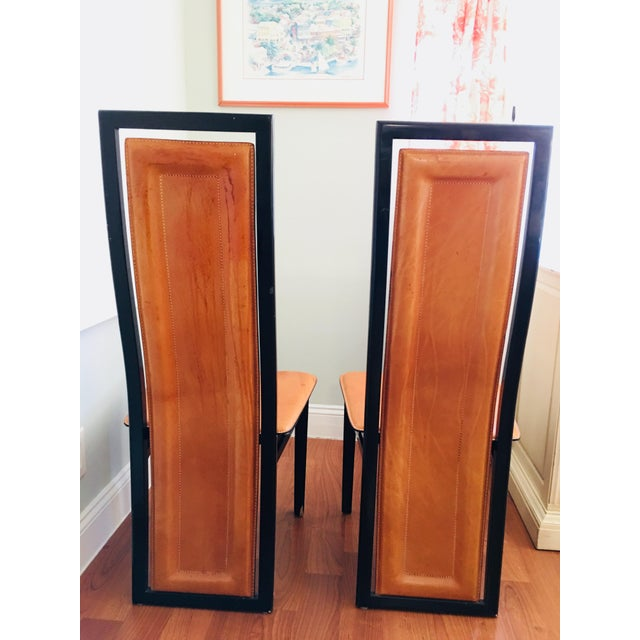 Roche Bobois Art Deco Inspired Roche Bubois Leather and Lacquer Dining Chairs - a Pair For Sale - Image 4 of 11