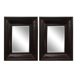 Leather Wrapped Wall Mirrors - a Pair For Sale