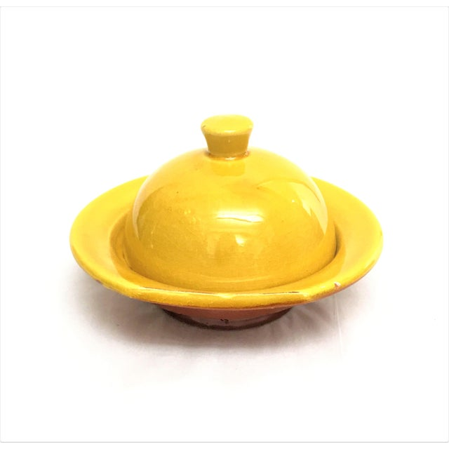 Hand Painted Yellow Small Moroccan Ceramic Serving Dish - Image 2 of 4