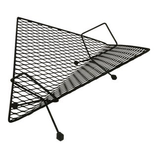 Mid-Century Modern Space Age Black Metal Magazine Rack For Sale