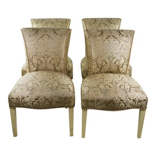 Continental Brocade Dining Chairs - Set of 4